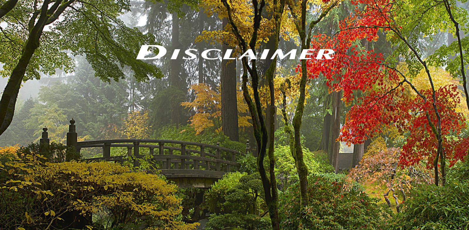 Website Disclaimer Photo, a wooden bridge at a Japanese garden