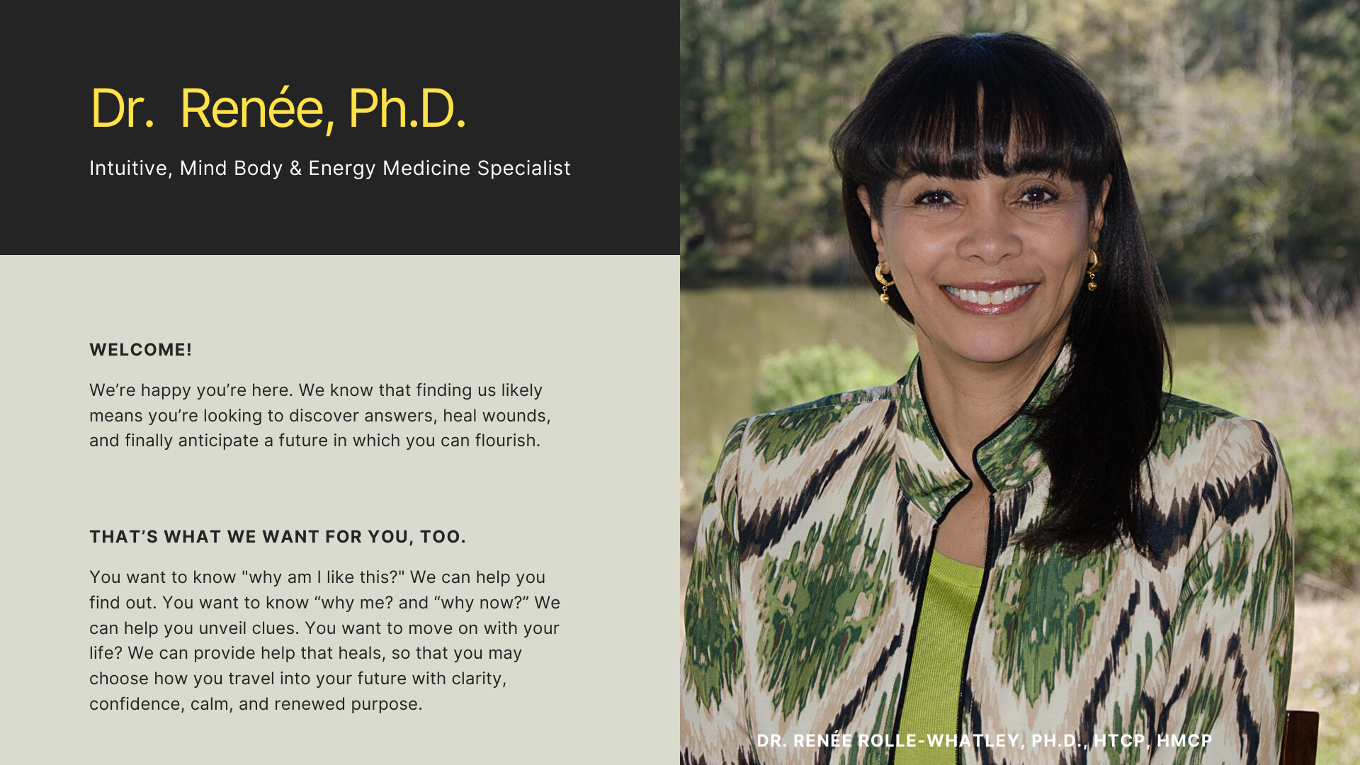 Welcome and photo of Dr. Renee Rolle-Whatley