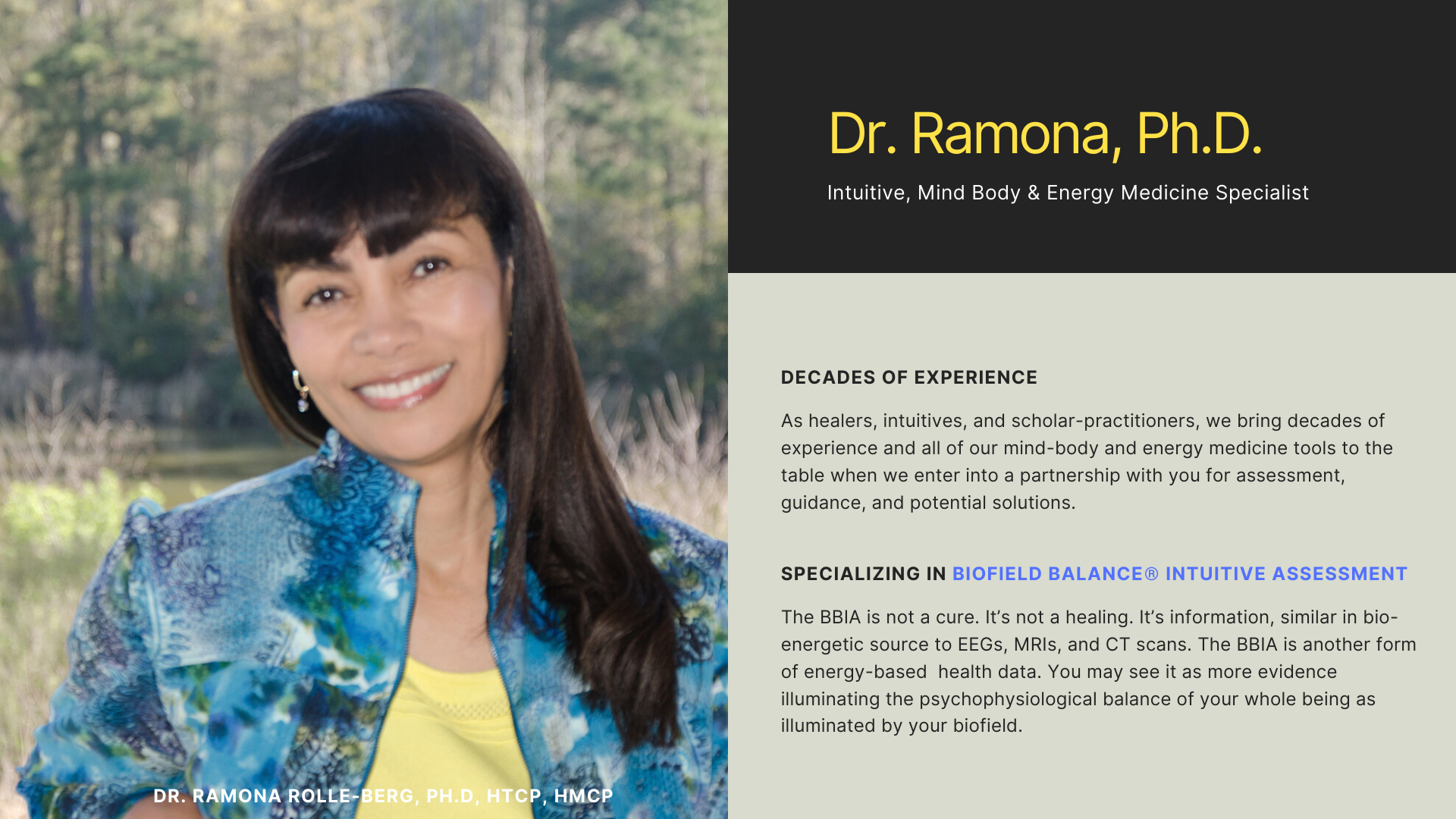Welcome and photo of Dr. Ramona Rolle-Berg, Ph.D.