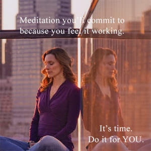 Graphic of woman meditating surrounded by high-rise city