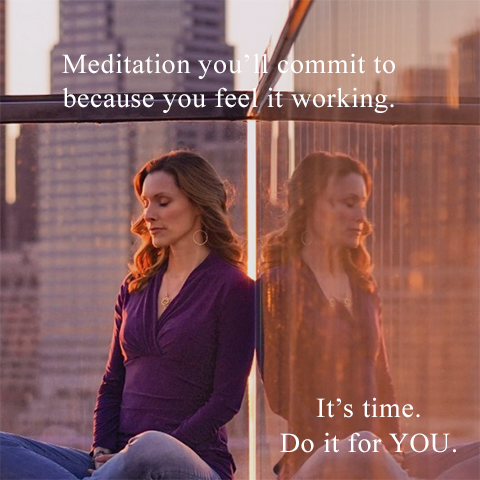 Graphic of woman meditating surrounded by high-rise city buildings